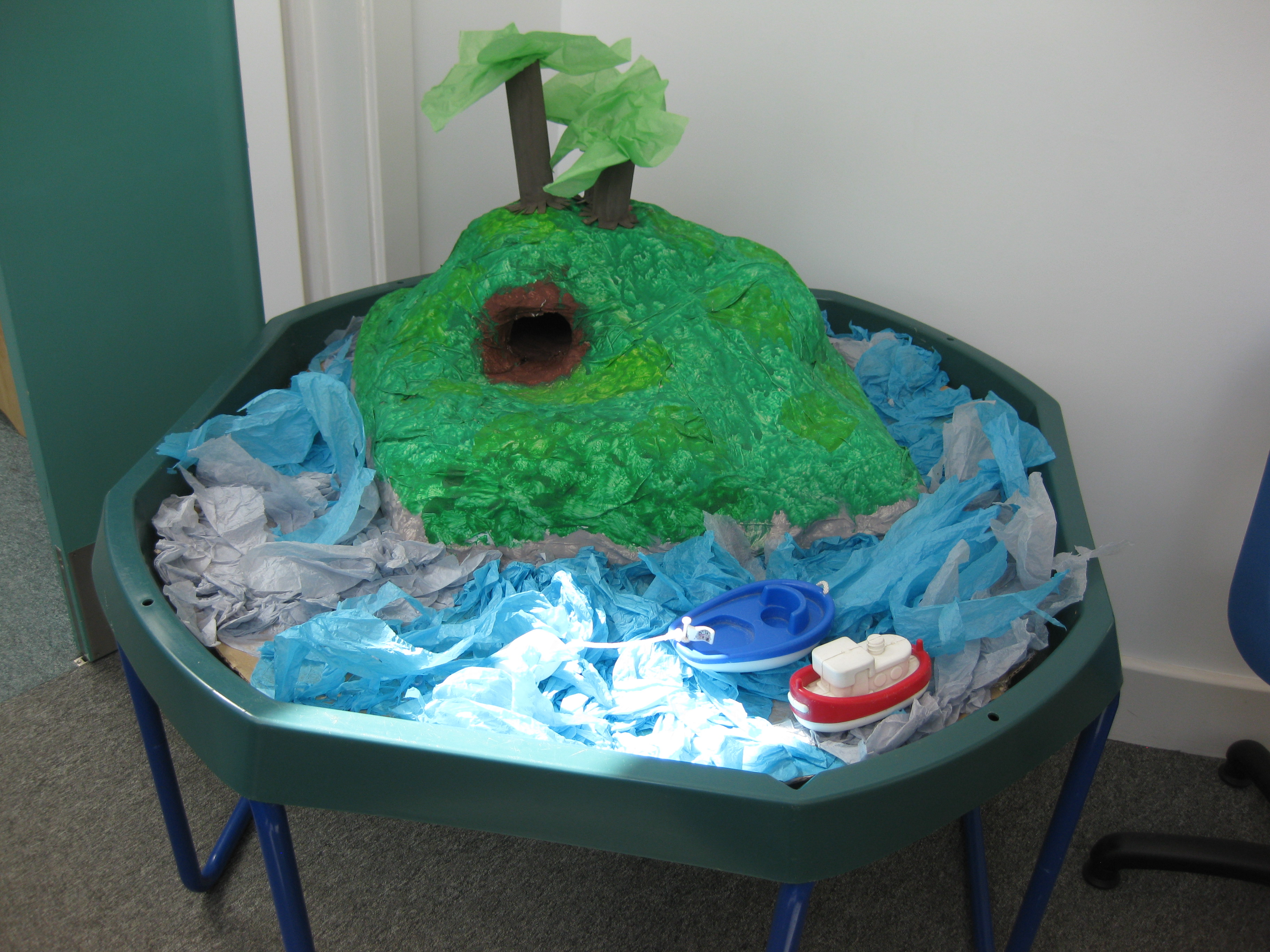 A little Pi-Rat! inspired island as made by the Wrens at the Bellbird School in Sawston.